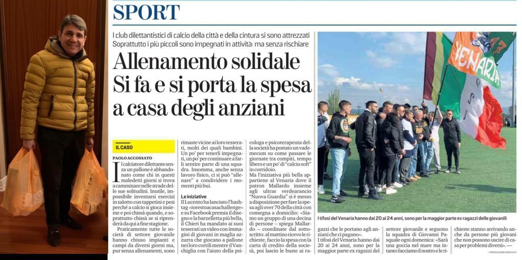 A.S.D. Venaria Reale solidale: è operativo il servizio di consegna a domicilio gestito dal Presidente Domenico Mallardo