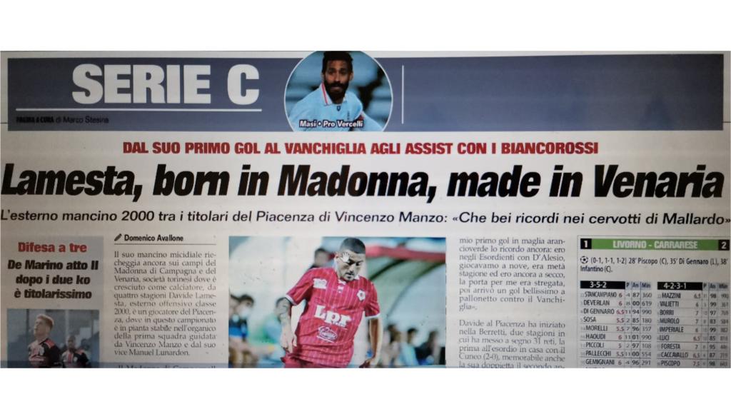Davide Lamesta, orgoglio di Venaria: dal Don Mosso alla Serie C con il Piacenza!