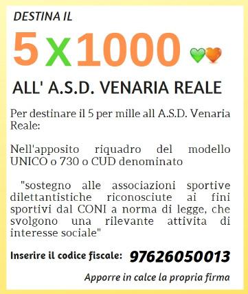 Destina il 5×1000 all'A.S.D. Venaria Reale